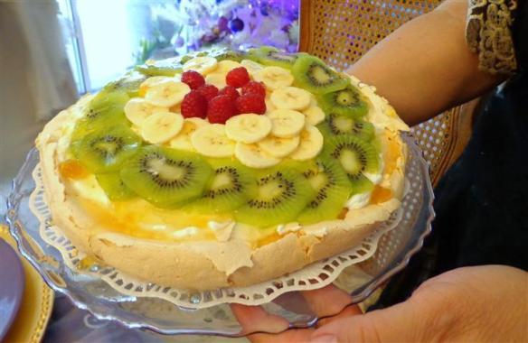 Lady J's pavlova (fresh fruit pie on a meringue crust)