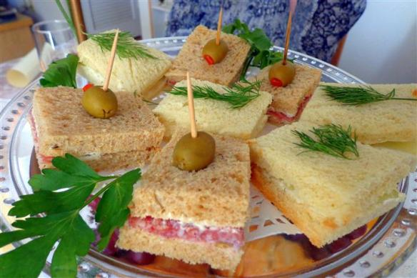 Cucumber sandwiches and Genoa salami sandwiches