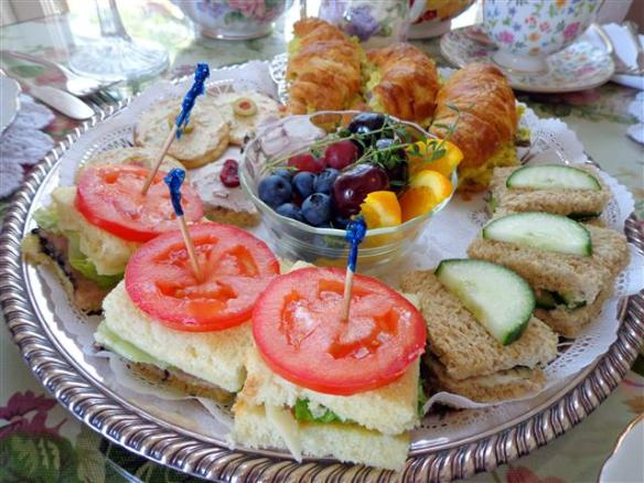 Sandwiches, savories, and fresh fruit course