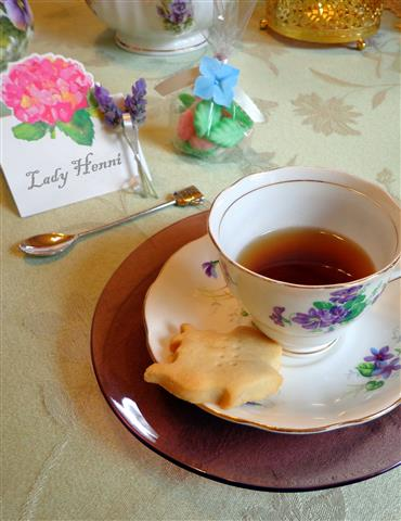 A teapot shaped shortbread to accompany the house blend tea