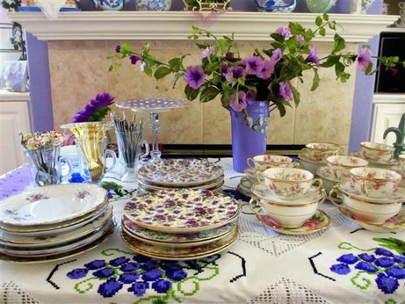 Pretty china (plates, serving utensils, and soup bowls)