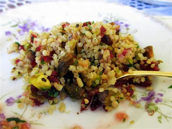 Quinoa and bulgar salad with cranberries and pistachios