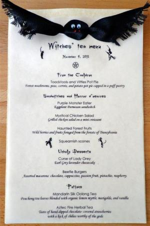 Witches' Tea menu