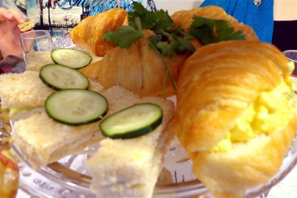 Curried egg salad croissant and cucumber cream cheese by A.
